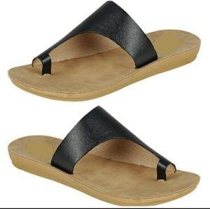 Shoes - Women's Black Slip On Sandals